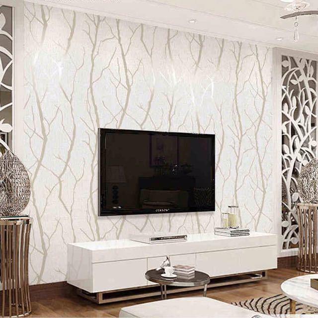現代のミニマリストのファッション不織布壁紙ロール 3D エンボス加工支店ストライプ壁紙リビングルームのテレビのソファの背景壁_画像4