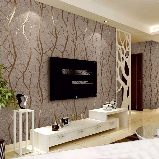 現代のミニマリストのファッション不織布壁紙ロール 3D エンボス加工支店ストライプ壁紙リビングルームのテレビのソファの背景壁_画像3