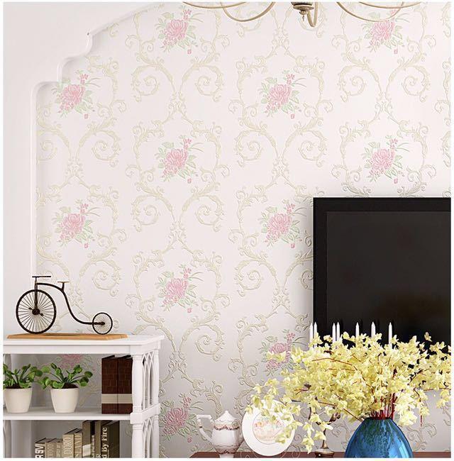 3D 立体花牧歌不織布肥厚壁紙壁装材ロール壁の論文の家の装飾リビングルームの寝室の壁_ホワイト