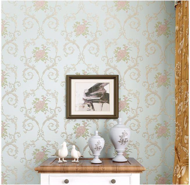 3D 立体花牧歌不織布肥厚壁紙壁装材ロール壁の論文の家の装飾リビングルームの寝室の壁_ブルー