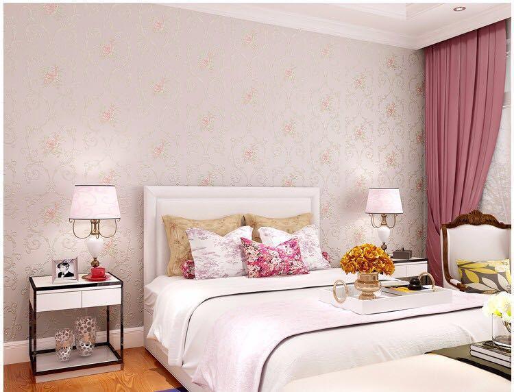 3D 立体花牧歌不織布肥厚壁紙壁装材ロール壁の論文の家の装飾リビングルームの寝室の壁_ピンク