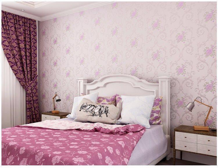 3D 立体花牧歌不織布肥厚壁紙壁装材ロール壁の論文の家の装飾リビングルームの寝室の壁_パープル