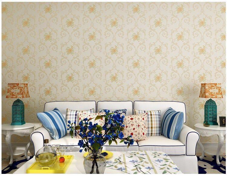 3D 立体花牧歌不織布肥厚壁紙壁装材ロール壁の論文の家の装飾リビングルームの寝室の壁_イエロー