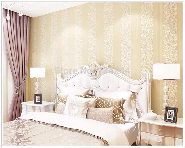 10 メートルホームセンター壁紙現代のファッション不織布フロッキング壁紙ロール寝室の背景の壁 5 色 r19_ベージュ