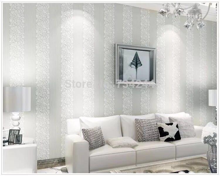 10 メートルホームセンター壁紙現代のファッション不織布フロッキング壁紙ロール寝室の背景の壁 5 色 r19_ホワイト
