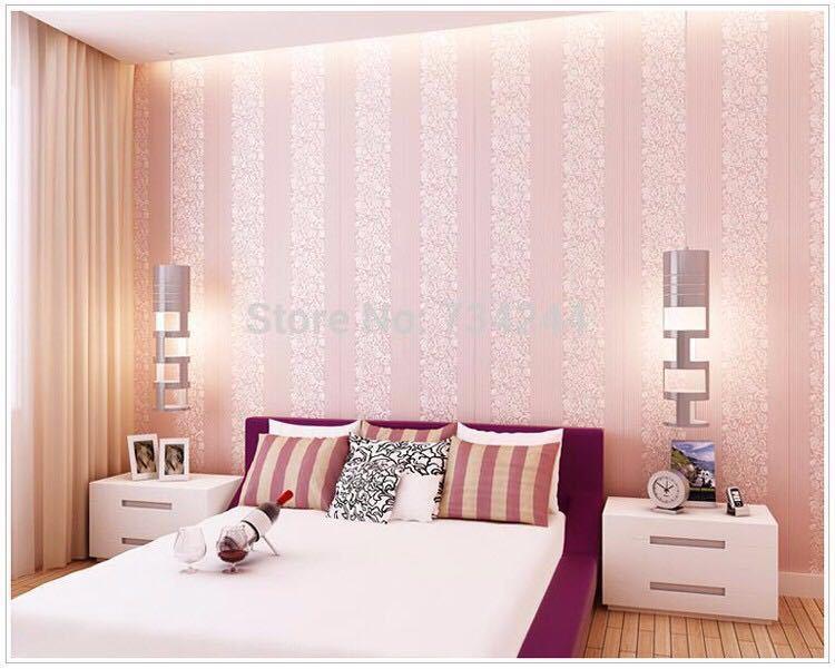 10 メートルホームセンター壁紙現代のファッション不織布フロッキング壁紙ロール寝室の背景の壁 5 色 r19_ピンク