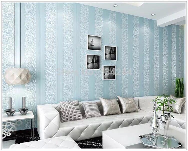 10 メートルホームセンター壁紙現代のファッション不織布フロッキング壁紙ロール寝室の背景の壁 5 色 r19_ブルー