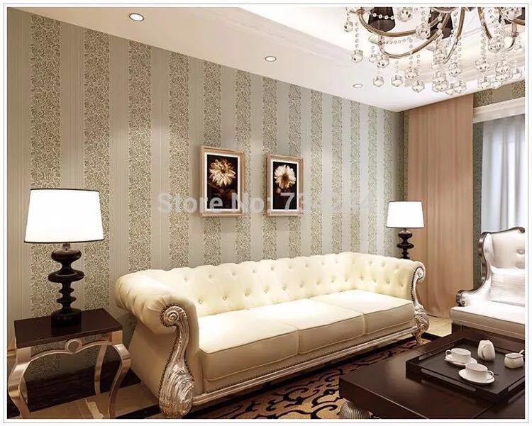 10 メートルホームセンター壁紙現代のファッション不織布フロッキング壁紙ロール寝室の背景の壁 5 色 r19_ブラウン