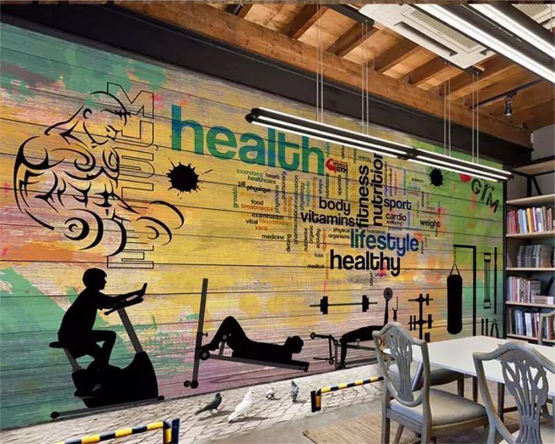 Beibehang カスタムメイドの壁画落書き厚板スポーツジムクラブジム壁背景装飾的な壁 papel デ parede 壁紙_画像2
