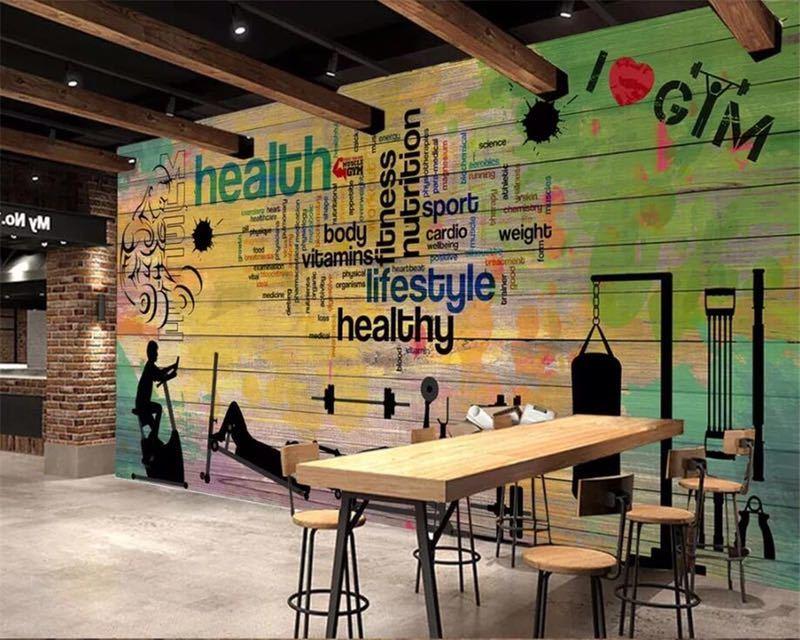 Beibehang カスタムメイドの壁画落書き厚板スポーツジムクラブジム壁背景装飾的な壁 papel デ parede 壁紙_画像1