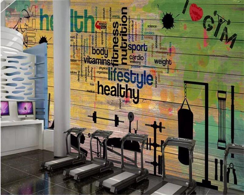 Beibehang カスタムメイドの壁画落書き厚板スポーツジムクラブジム壁背景装飾的な壁 papel デ parede 壁紙_画像3