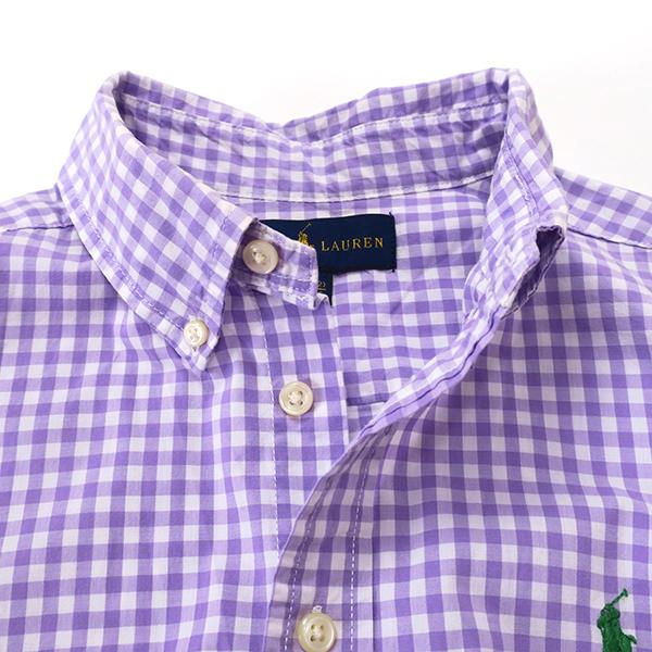 ラルフローレン ギンガムチェックBDシャツ パープル(レディースS相当)_画像3