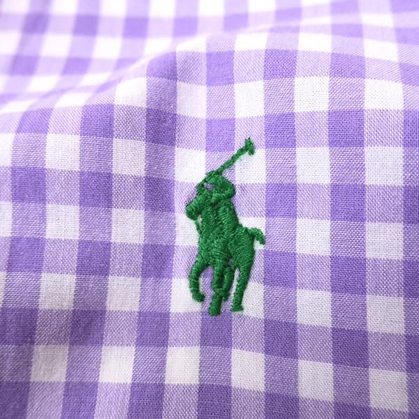 ラルフローレン ギンガムチェックBDシャツ パープル(レディースS相当)_画像4
