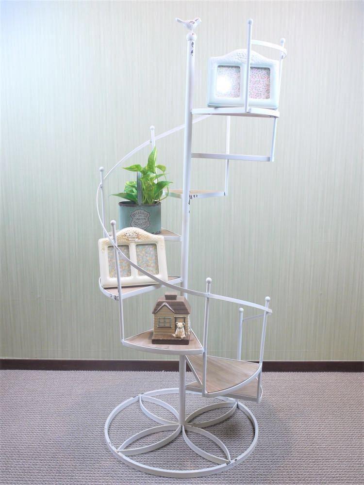 グランシュマン アンティーク調 シェルフ オブジェ 螺旋階段 棚 収納 置物 インテリア アイアン 木製 新品