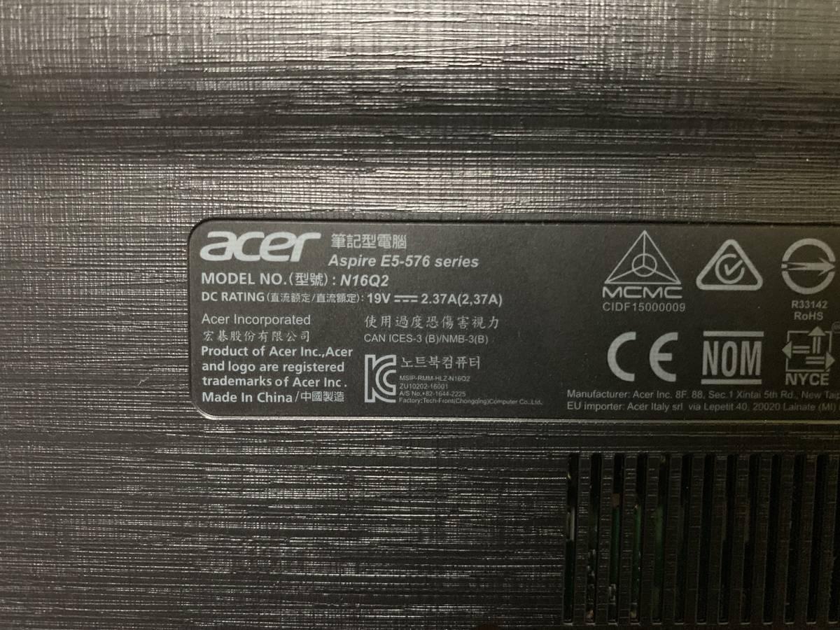 SSD搭載! Acer Aspire E5-576 i3-6006U 2.0GHz/8GB/SSD 120GB/Windows 10 Home E5-576-A34G/K_画像9