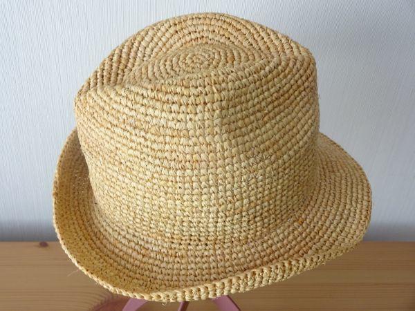 ∃Control freak∃男女兼用 麦わら帽子 ラフィア 中折れハット 綺麗な小麦色 サイズ57・5cm 帽子 キャップ 美品_画像3