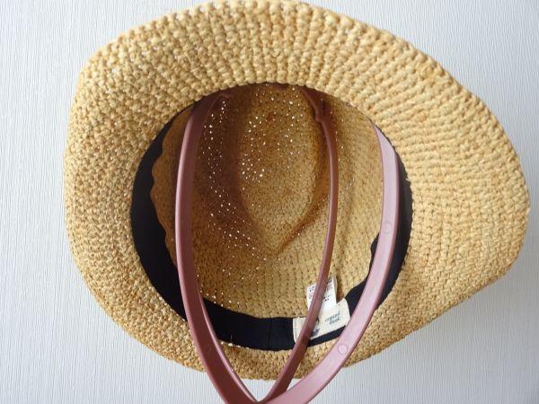 ∃Control freak∃男女兼用 麦わら帽子 ラフィア 中折れハット 綺麗な小麦色 サイズ57・5cm 帽子 キャップ 美品_画像4