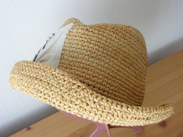 ∃Control freak∃男女兼用 麦わら帽子 ラフィア 中折れハット 綺麗な小麦色 サイズ57・5cm 帽子 キャップ 美品_画像2