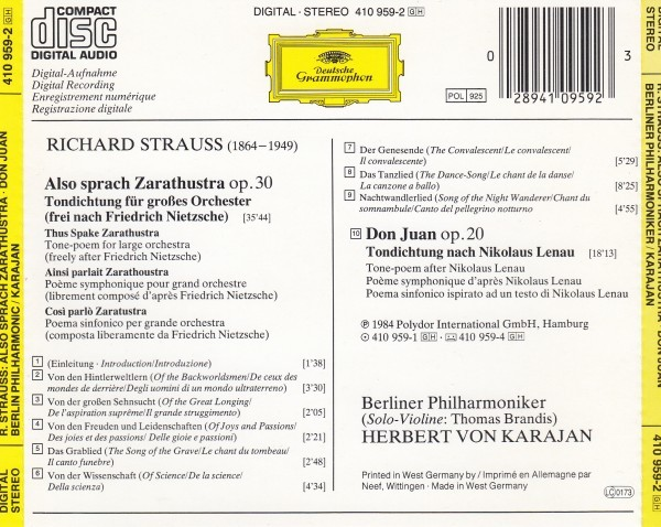カラヤン&ベルリンフィル/R・シュトラウス:交響詩「ツァラトゥストラはこう語った」、交響詩「ドン・ファン」(西独盤)_画像2