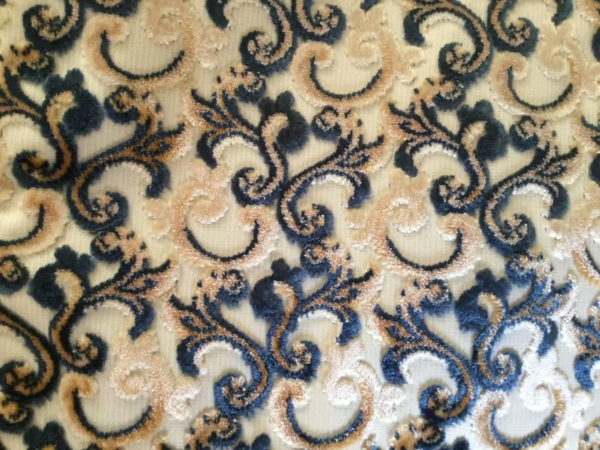 送料無料 未使用 ボリュームタッセルチャーム レザークラッチバッグ モロカンファブリック本革ビッグポーチ ブルーの唐草模様 モロッコ