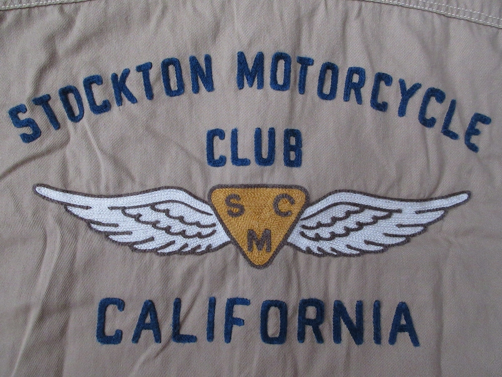日本製 Pherrow's モーターサイクル クラブ 刺繍 AMA ワッペン マチ付き カスタム ワーク シャツL 40 フェローズ バイク オートバイ レース_画像7