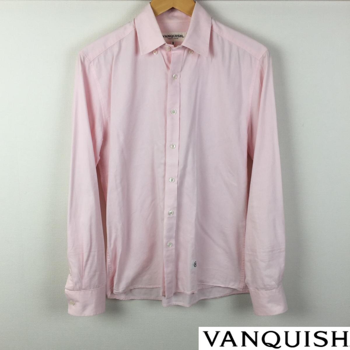 美品 VANQUISH ヴァンキッシュ 長袖シャツ ピンク サイズM 送料無料_画像1