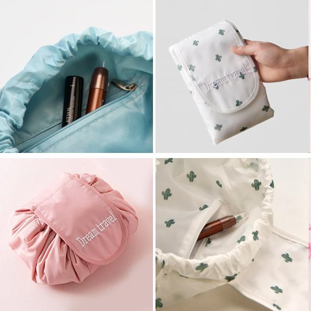 訳あり 一瞬で片付く まんまる巾着ポーチ /ピンク トラベルオーガナイザーマルチケース洗面メイク化粧品収納ミニバッグかわいい_画像6