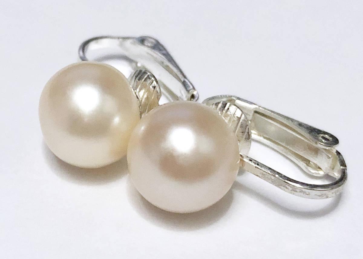真珠層100%●10mm大粒●天然淡水真珠のシンプルイヤリング●ほんのりピンク_画像2