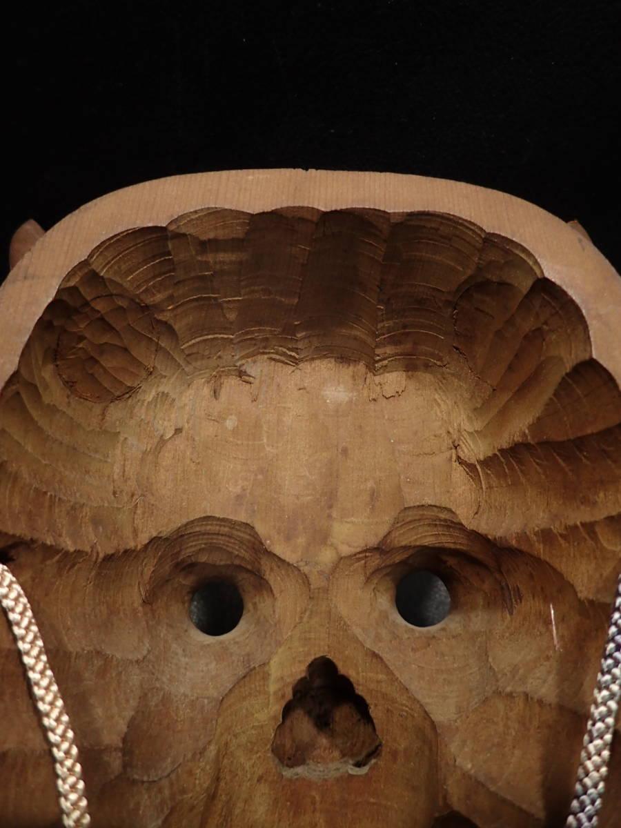 【義】 時代 古美術品 正志作 木彫 般若面 箱なし 守護 加護 金運 開運 招運 招福_画像9