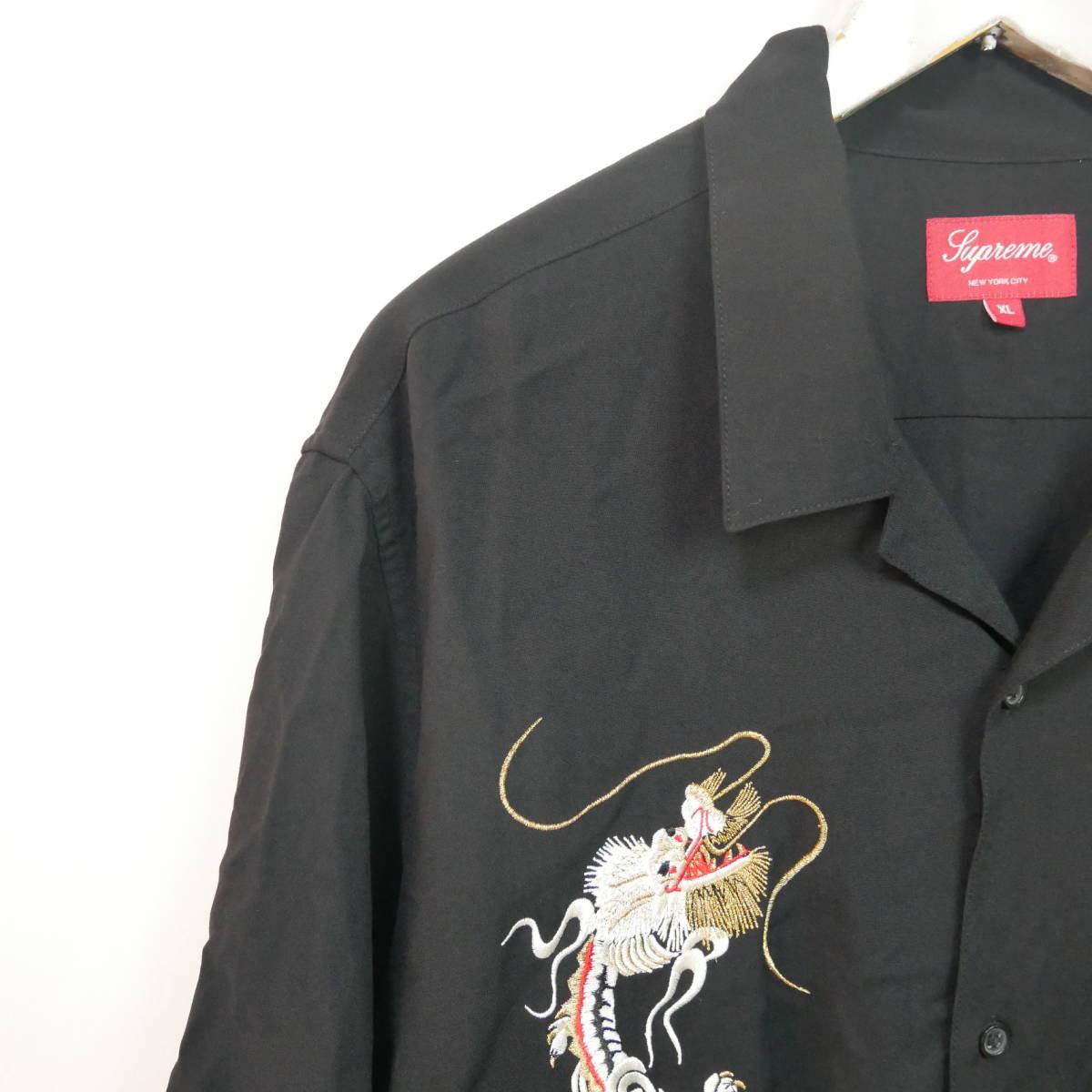 【1円】良好 国内正規 Supreme 18AW 18FW Dragon Rayon Shirt ドラゴンレーヨンシャツ Black 黒 XL_画像2