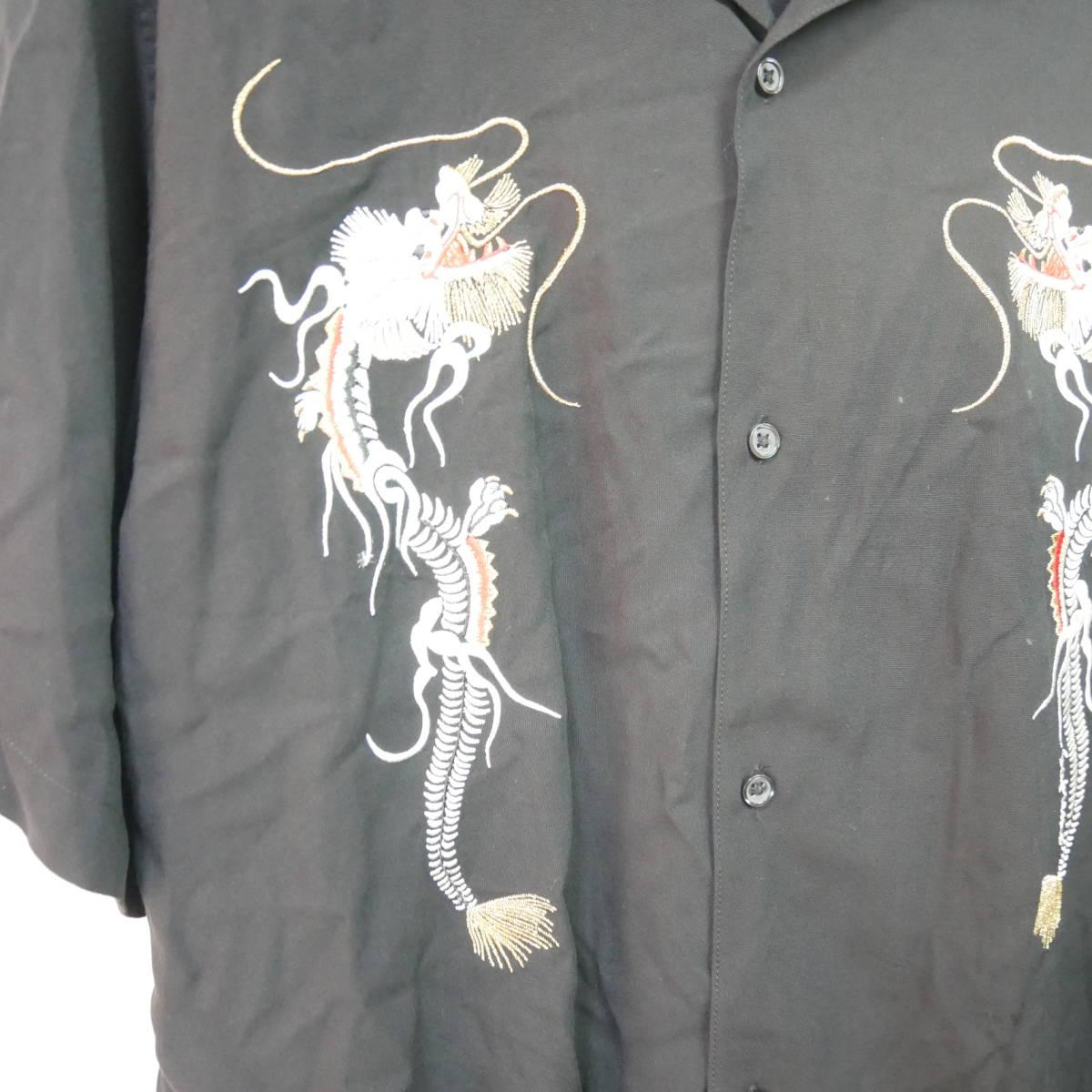 【1円】良好 国内正規 Supreme 18AW 18FW Dragon Rayon Shirt ドラゴンレーヨンシャツ Black 黒 XL_画像3