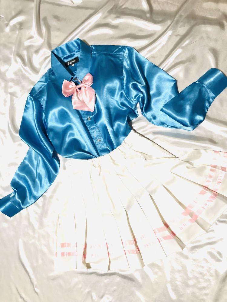 女子制服風サテンつるつるコーデ☆ピンクラインサテンプリーツスカートリボンコンビ☆サックスサテンシャツ セット☆_画像5