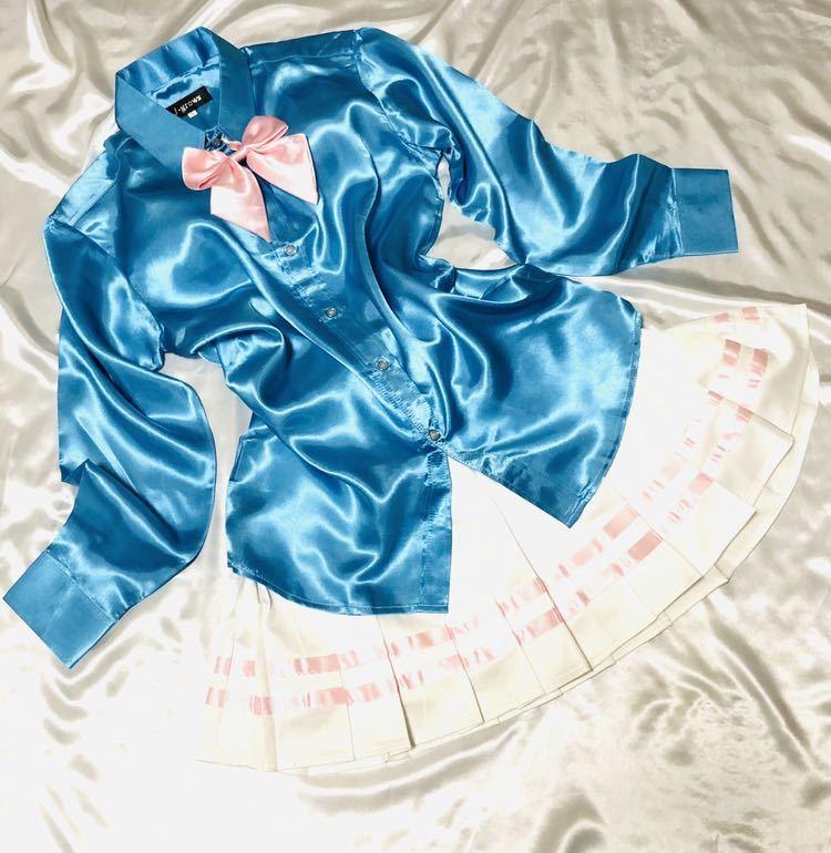 女子制服風サテンつるつるコーデ☆ピンクラインサテンプリーツスカートリボンコンビ☆サックスサテンシャツ セット☆