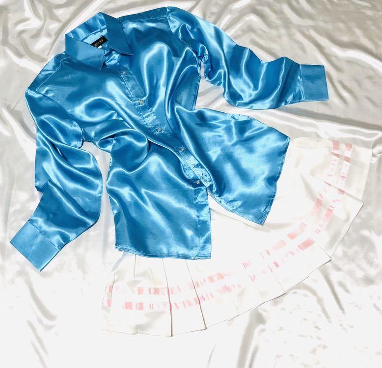 女子制服風サテンつるつるコーデ☆ピンクラインサテンプリーツスカートリボンコンビ☆サックスサテンシャツ セット☆_画像2