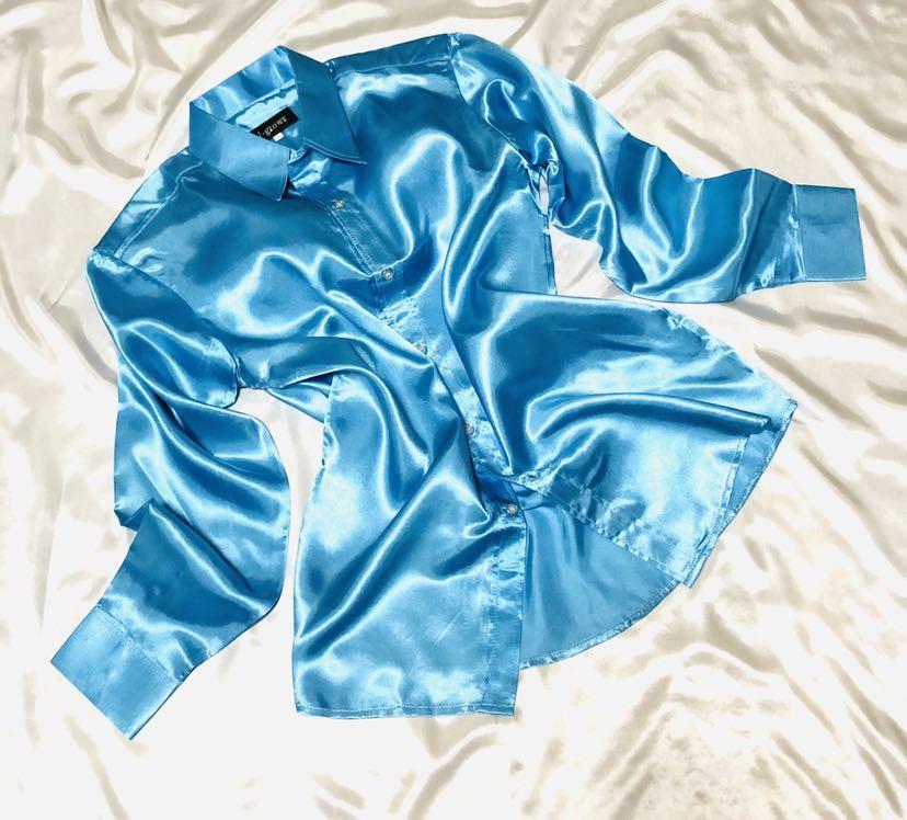 女子制服風サテンつるつるコーデ☆ピンクラインサテンプリーツスカートリボンコンビ☆サックスサテンシャツ セット☆_画像3