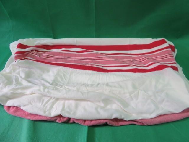 未使用品 フィットシーツ 保管品 白×赤 ニット生地 日本製 ベッドカバー マットレスにも 昭和レトロ_画像6