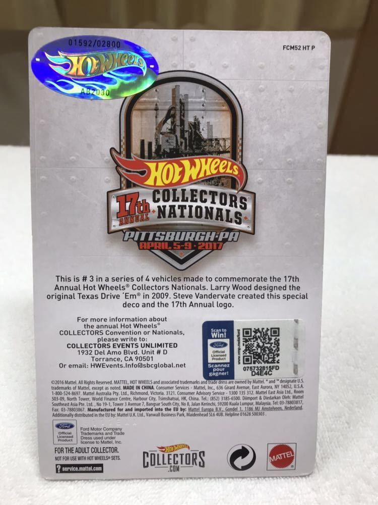 ホットウィール Hot Wheels 2017 17th ANNUAL COLLECTORS NATIONALS TEXAS DRIVE EM_画像6