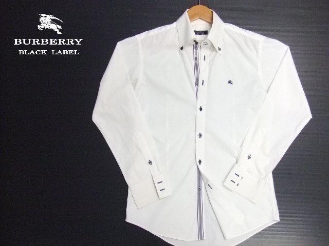 ■BURBERRY BLACK LABEL■長袖シャツ ボタンダウン 白 サイズ2 ライン入り 正規品 バーバリーブラックレーベル