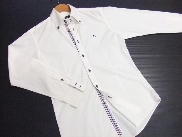 ■BURBERRY BLACK LABEL■長袖シャツ ボタンダウン 白 サイズ2 ライン入り 正規品 バーバリーブラックレーベル_画像2