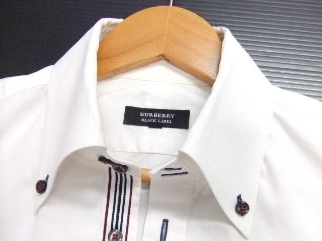 ■BURBERRY BLACK LABEL■長袖シャツ ボタンダウン 白 サイズ2 ライン入り 正規品 バーバリーブラックレーベル_画像4