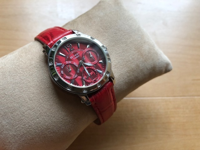 KK863 日本未発売 レア 良品 CASIO/カシオ SHEEN シーン デイデイト 赤 レッドカラー SHN-3012L 純正革ベルト クオーツ レディース 腕時計_画像1