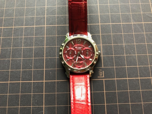 KK863 日本未発売 レア 良品 CASIO/カシオ SHEEN シーン デイデイト 赤 レッドカラー SHN-3012L 純正革ベルト クオーツ レディース 腕時計_画像3