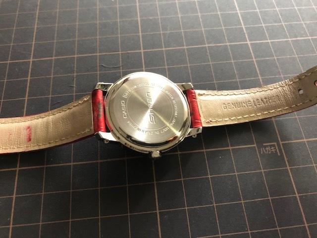 KK863 日本未発売 レア 良品 CASIO/カシオ SHEEN シーン デイデイト 赤 レッドカラー SHN-3012L 純正革ベルト クオーツ レディース 腕時計_画像6