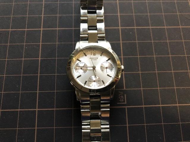 KK922 CITIZEN/シチズン Wicca ウィッカ デイデイト シルバー 6329 純正SSブレス クオーツ レディース 腕時計_画像3