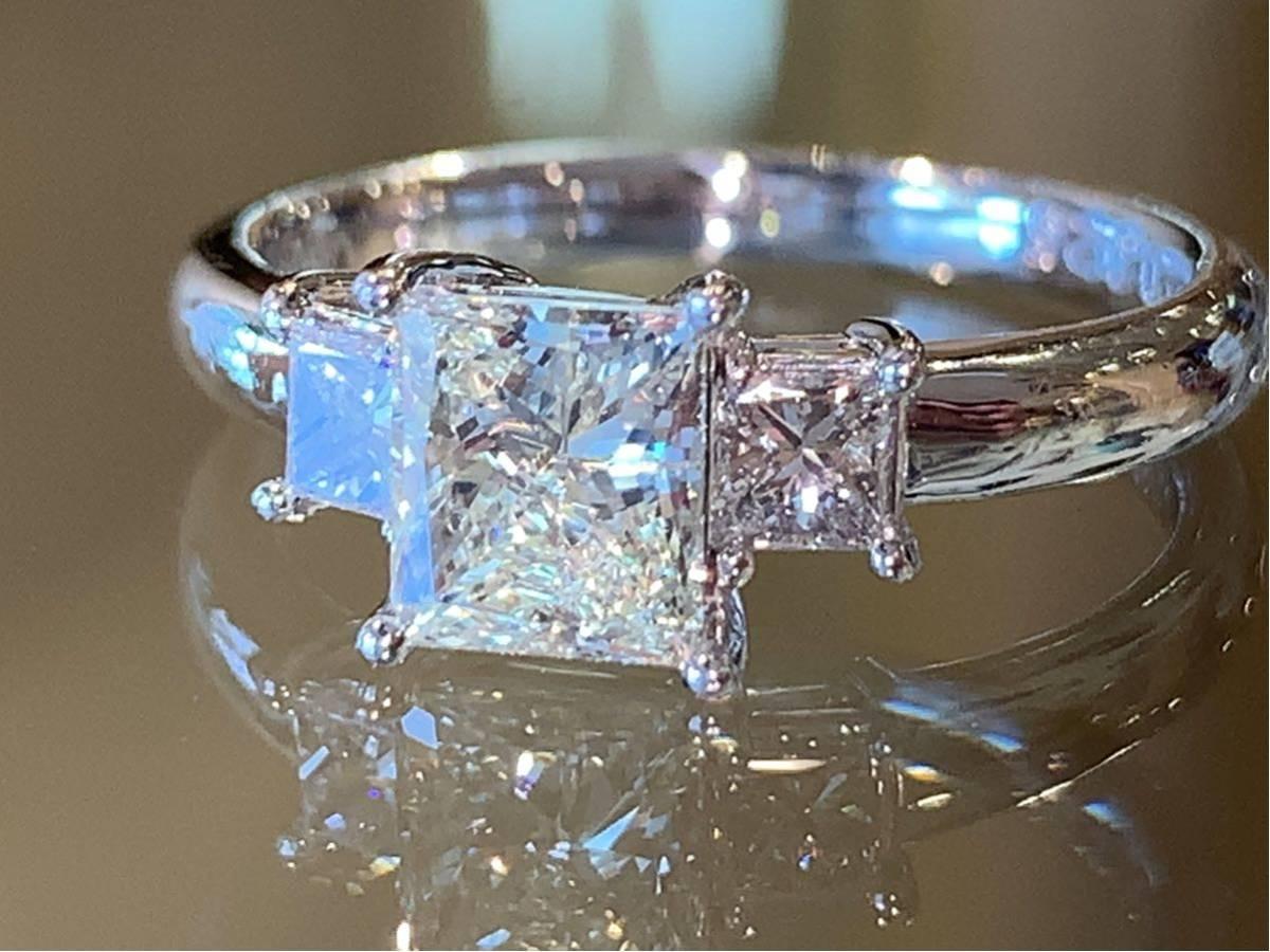 「高品質」PT900プリンセスカットダイヤモンドリング 最大値引きしました   赤字です_画像1
