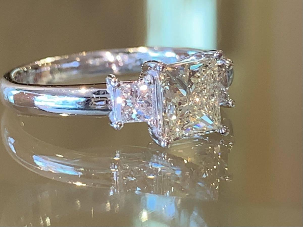 「高品質」PT900プリンセスカットダイヤモンドリング 最大値引きしました   赤字です_画像3