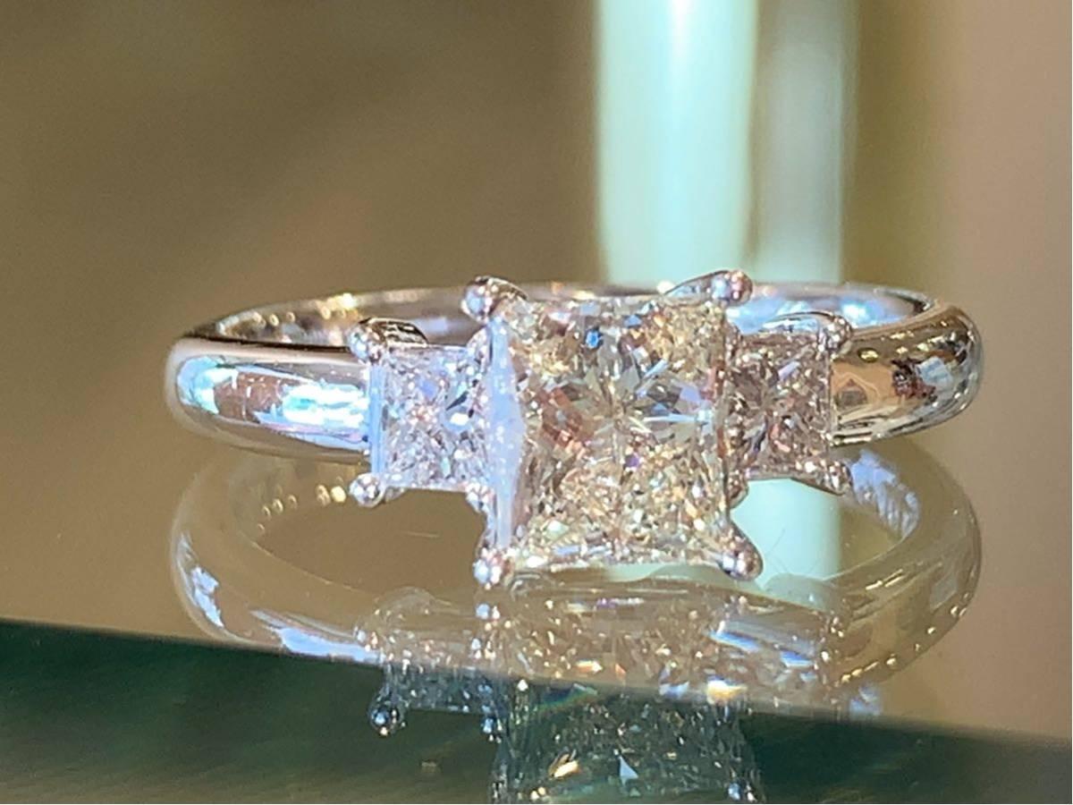 「高品質」PT900プリンセスカットダイヤモンドリング 最大値引きしました   赤字です_画像2