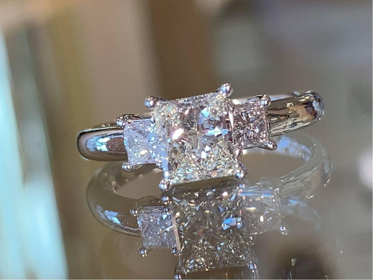 「高品質」PT900プリンセスカットダイヤモンドリング 最大値引きしました   赤字です_画像4