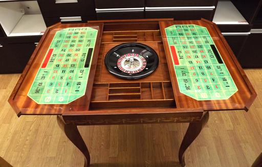 ゲームテーブル イタリア製 ルーレット チェス バックギャモン 象嵌 カジノ アンティーク 西岡店_画像2