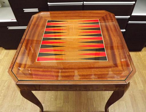 ゲームテーブル イタリア製 ルーレット チェス バックギャモン 象嵌 カジノ アンティーク 西岡店_画像3